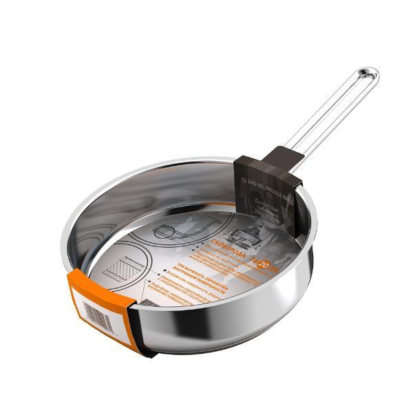 Сковорода 200мм Гурман - Классик из нержавеющей стали с тройным дном ( ГРИЛЬ), без крышки
