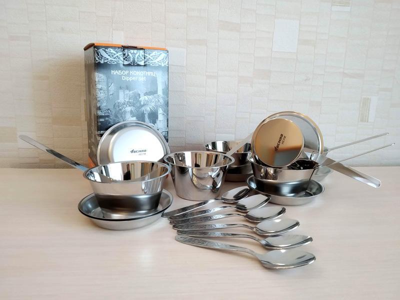 Набор кокотниц с блюдцами и ложками (по 6 шт.) из нержавеющей стали